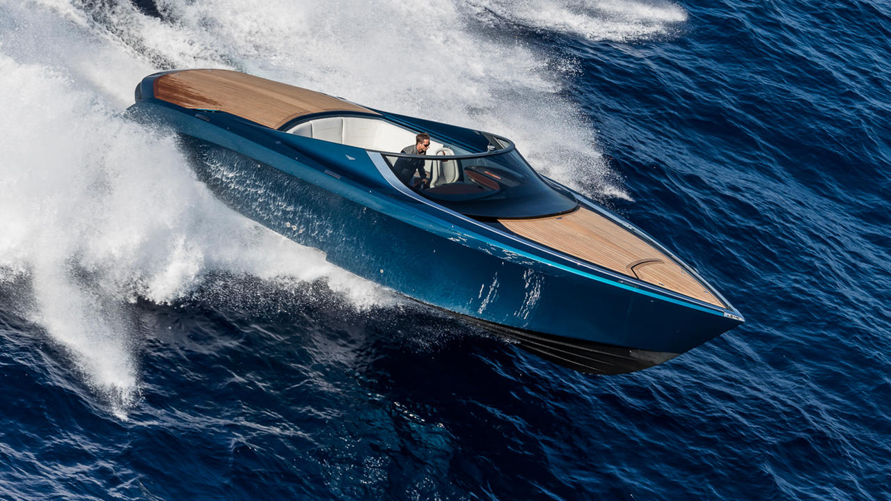 aston martin am37s: the boat that thinks it's a car | boat international