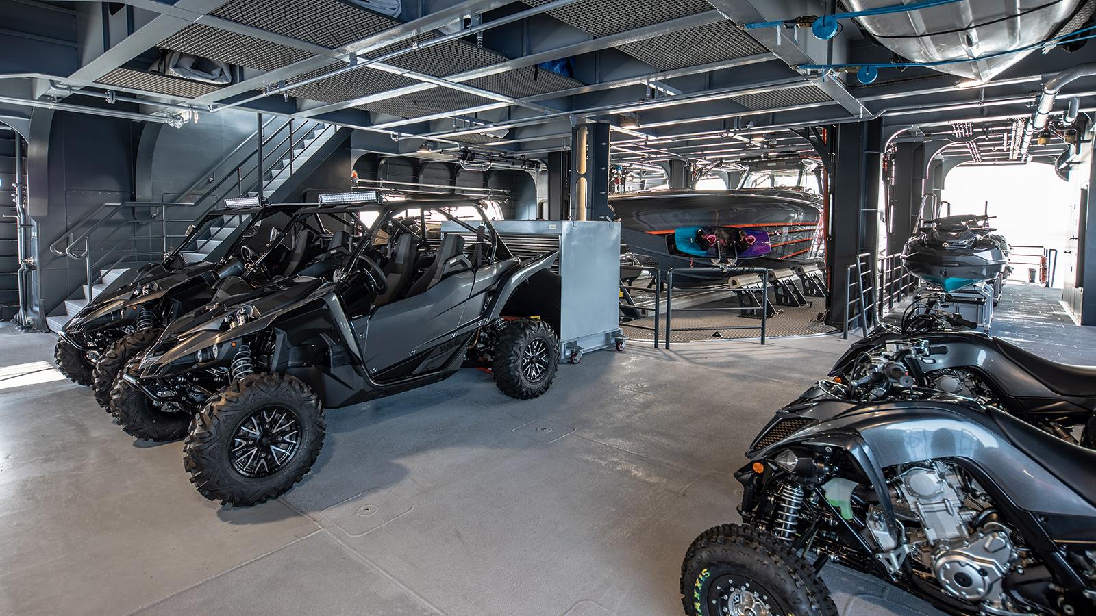 catamaran-superyacht-Hodor-worlds-largest-toybox-garage-quad-bikes-toys