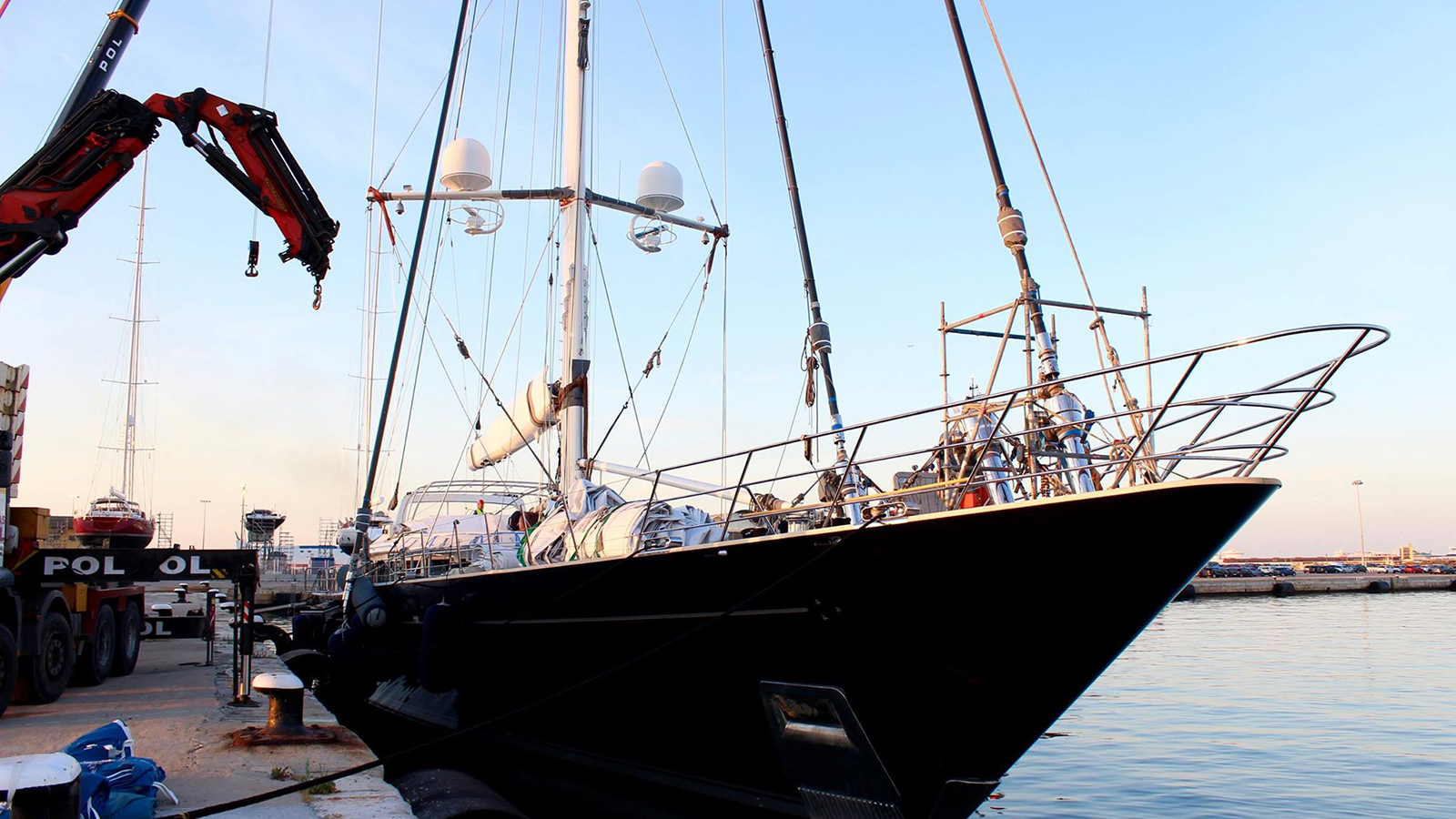 Perini-Navi-sailing-super-yacht-bayesian-arrived-into-mallorca-for-a-refit-in-june-2016