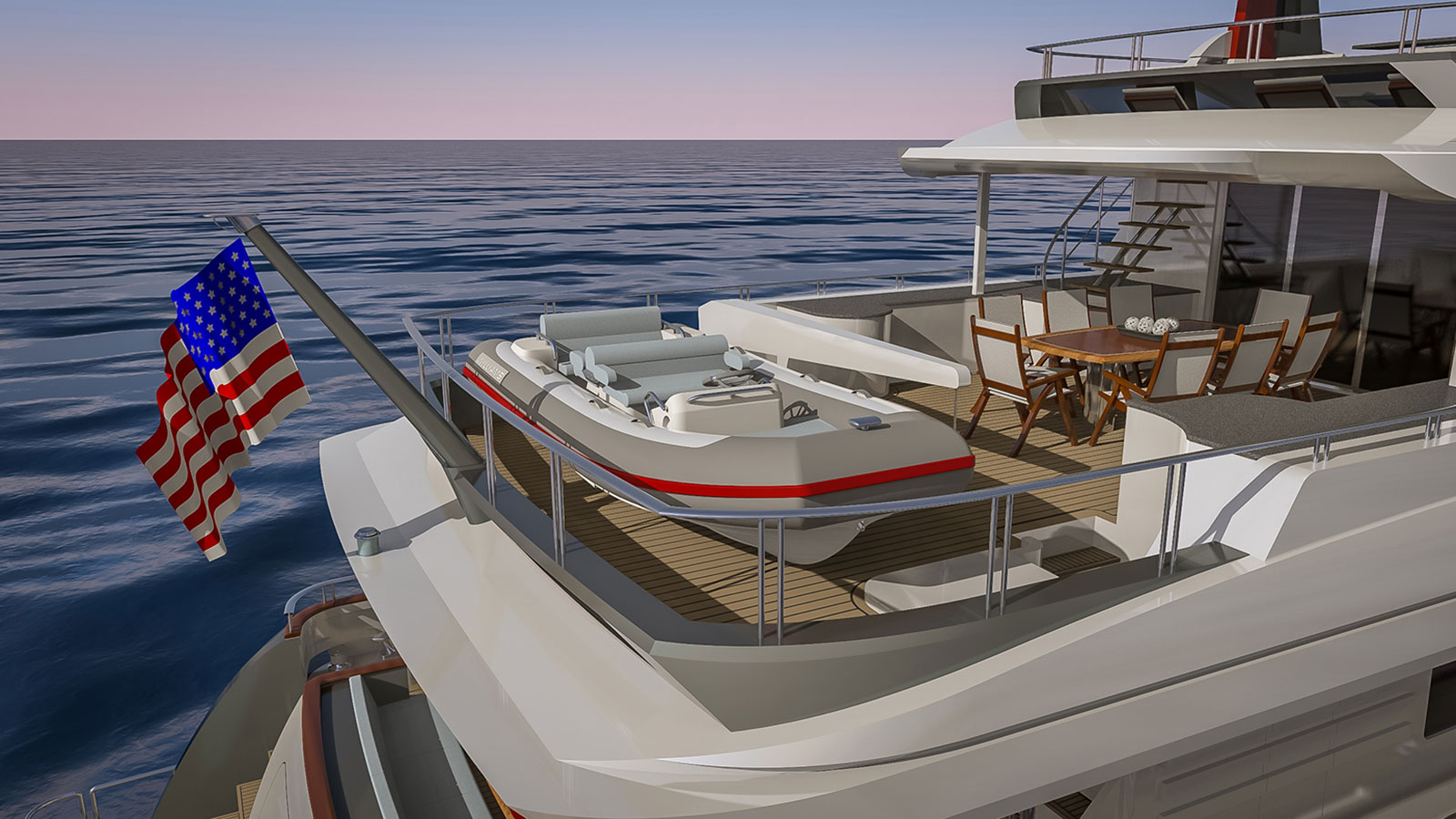 Outer Reef Trident 3000 bridge deck aft