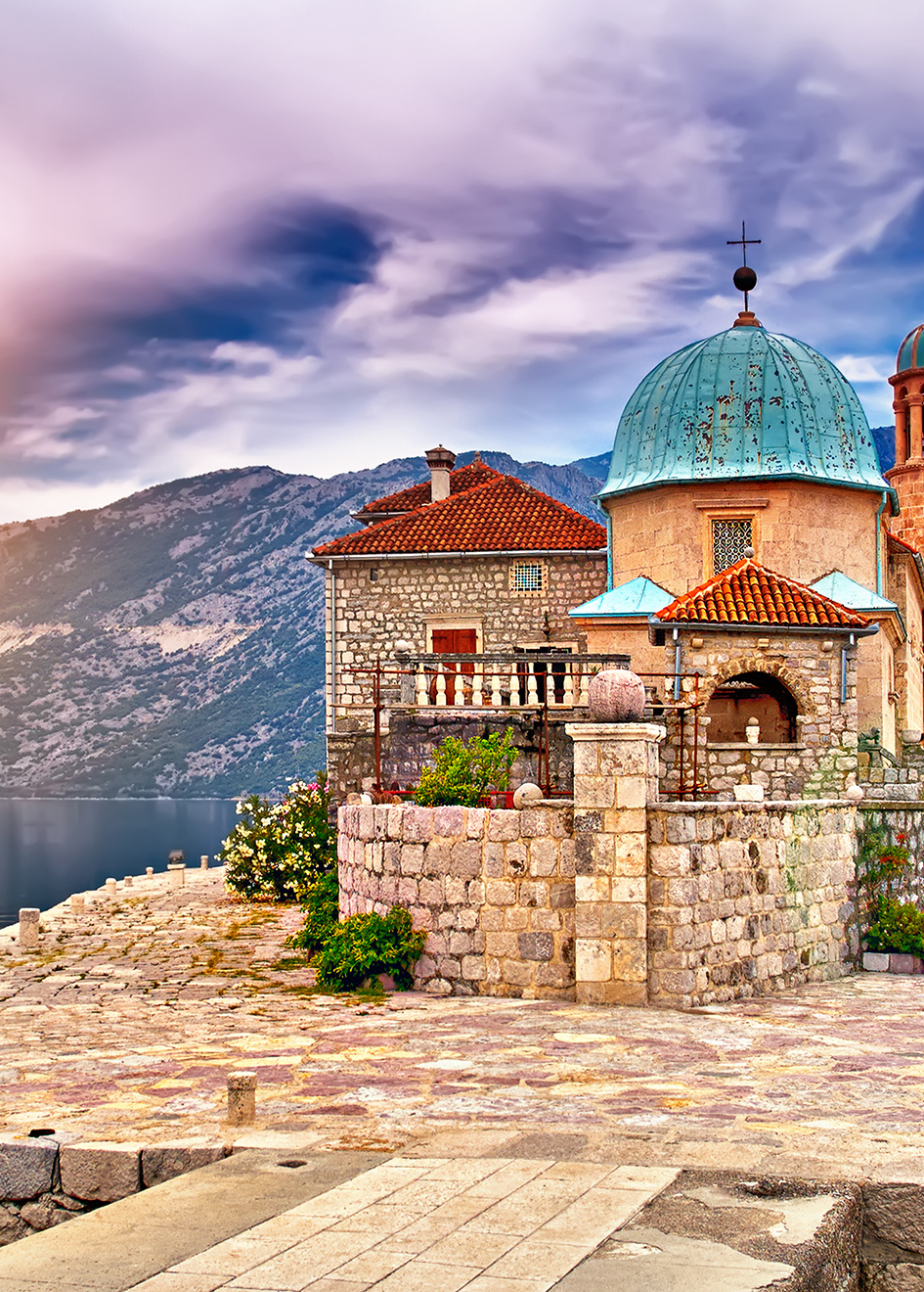 A castle built on an island in Montenegro