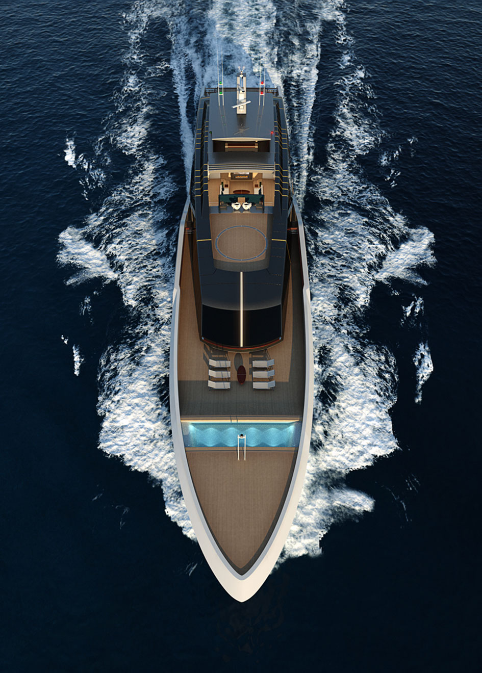 Luca Vallebona Pentagramma Yacht Concept Aerial Vertical