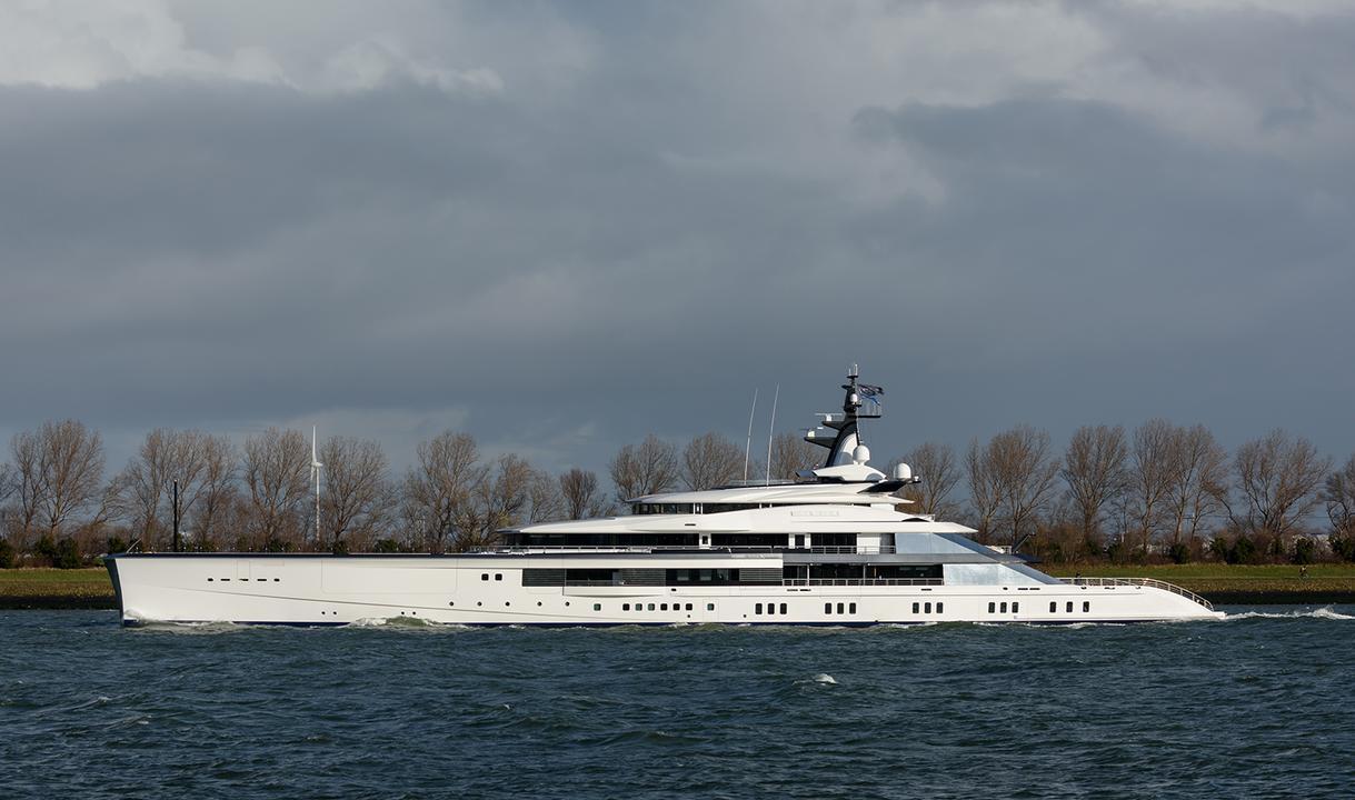 Oceanco's 109 metre Project Bravo pictured on sea trials
