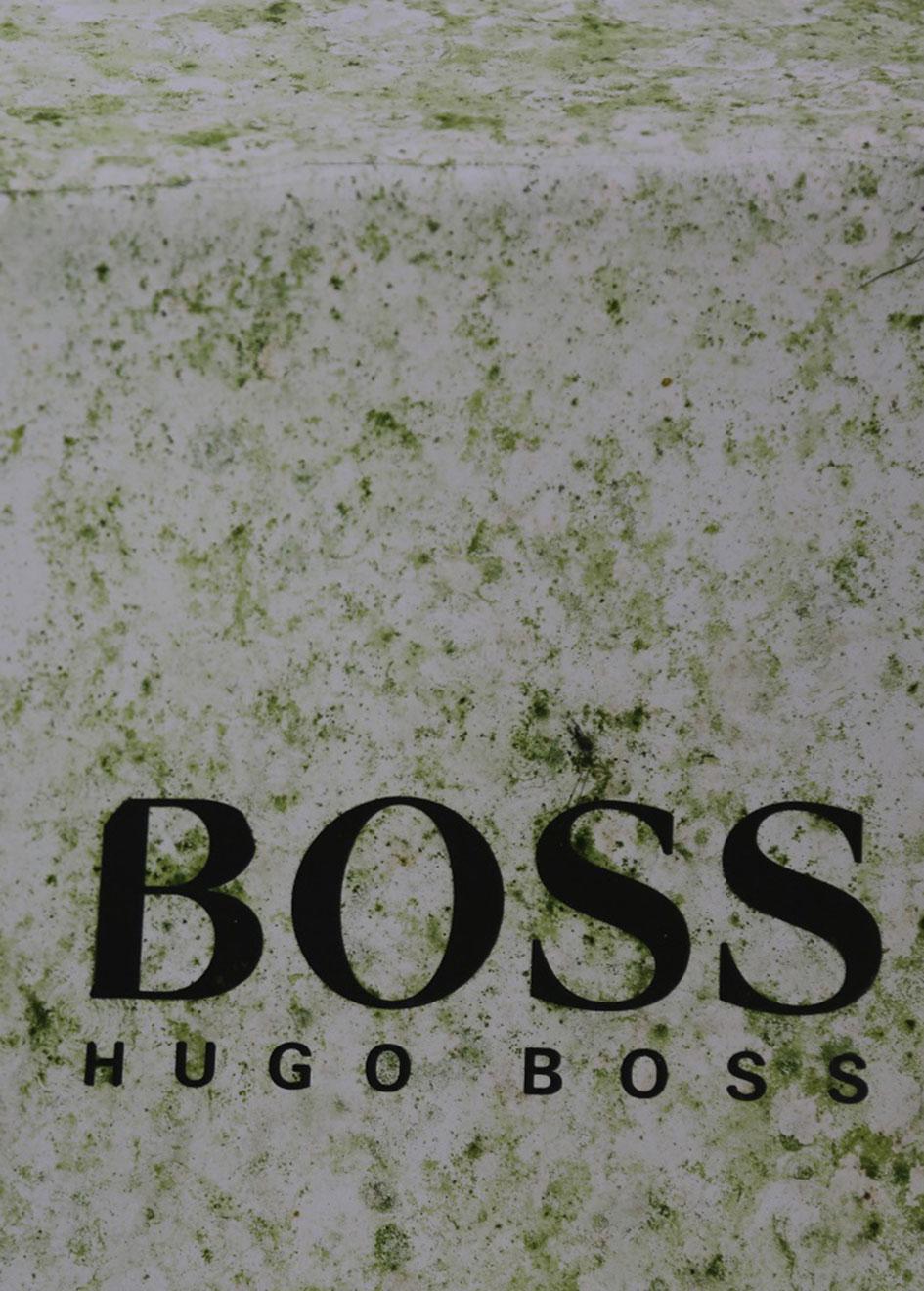 Hugo Boss branding on the hull