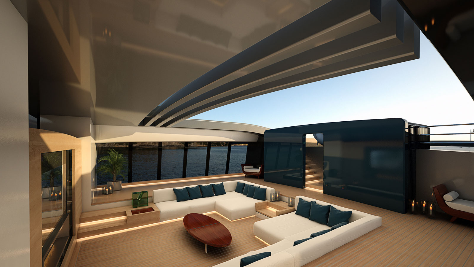 Luca Vallebona Pentagramma Yacht Concept Interior Saloon