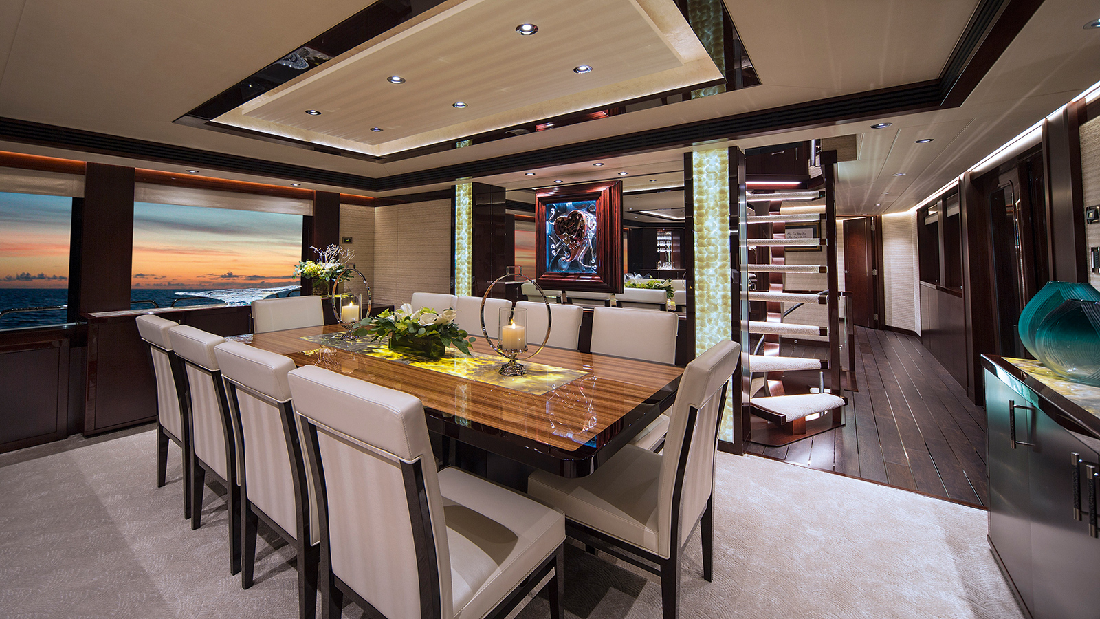 the-dining-area-of-the-westport-125-yacht-black-gold