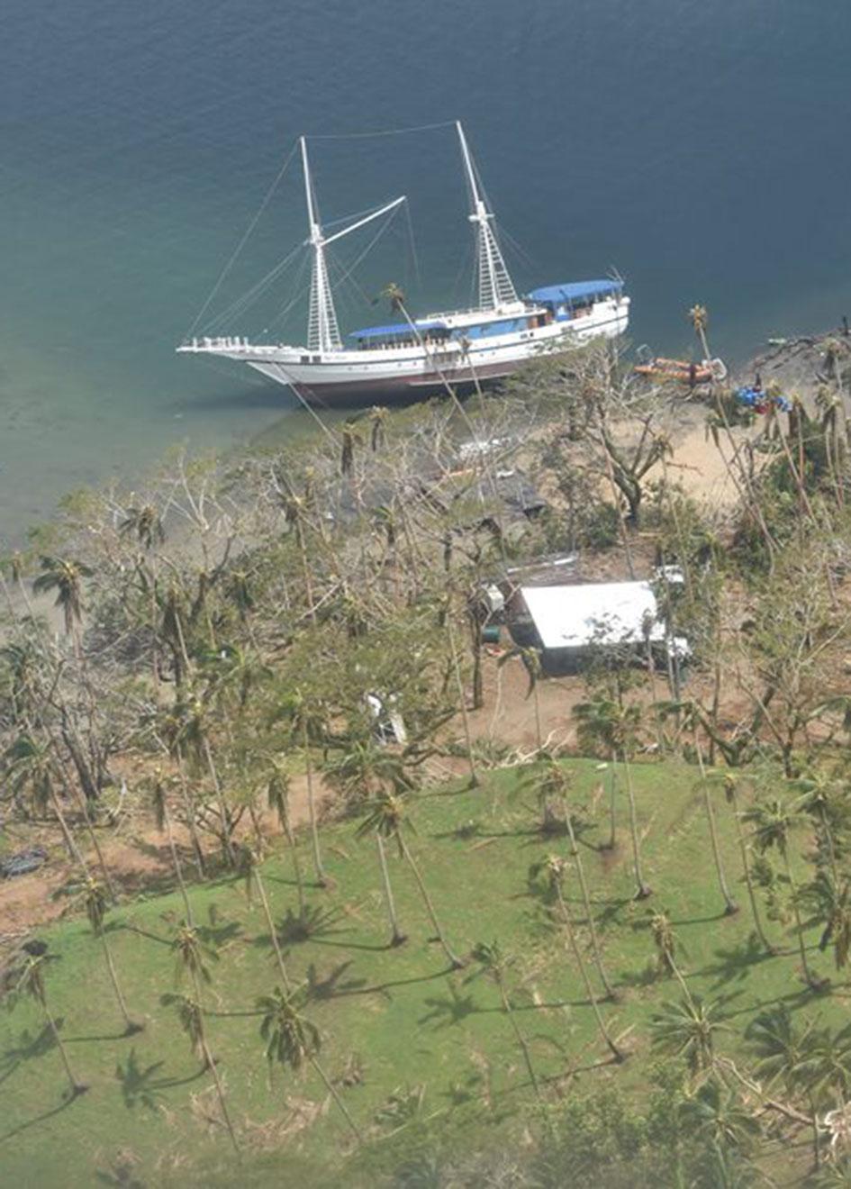 Boat on the beach in Urata, near Savusavu
