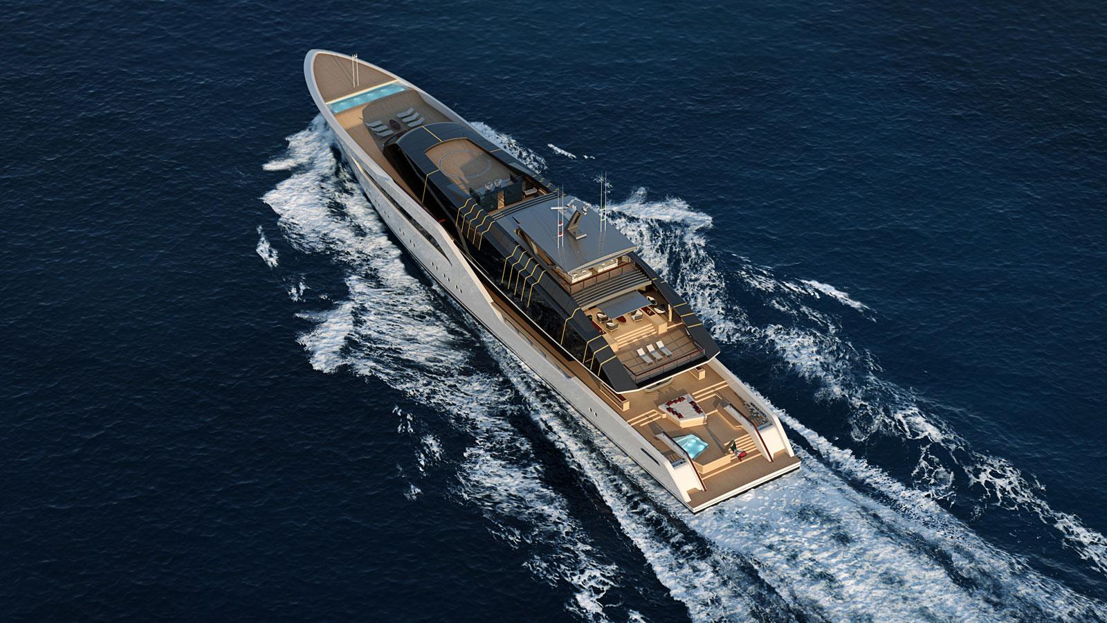 Luca Vallebona Pentagramma Yacht Concept Aerial