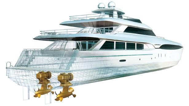 advances in superyacht propulsion boat international rh boatinternational com Ship Diagram Yacht Hull Parts