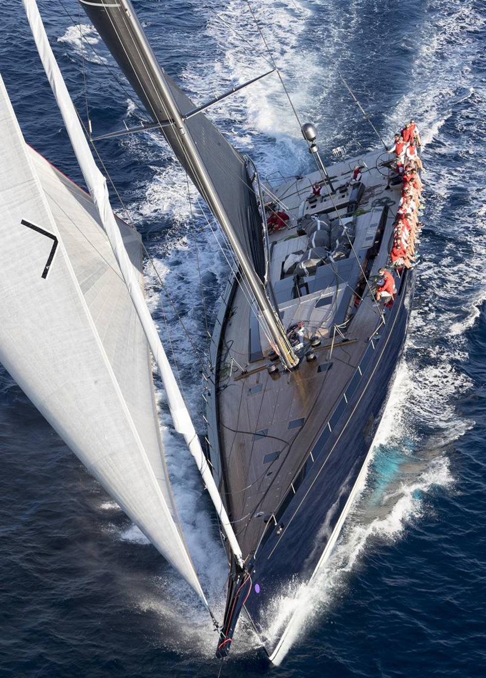 running-shot-of-Baltic-130-custom-sailing-super-yacht-my-song