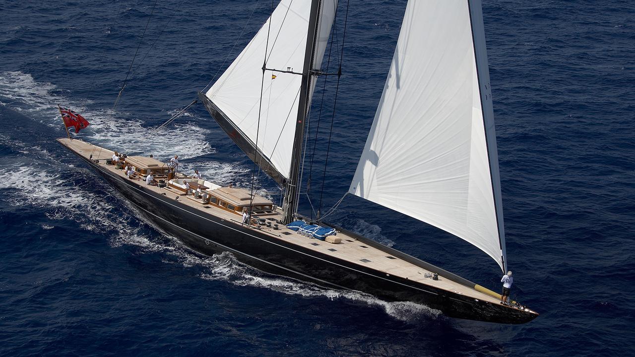 j class yacht lionheart is refit with new paint job