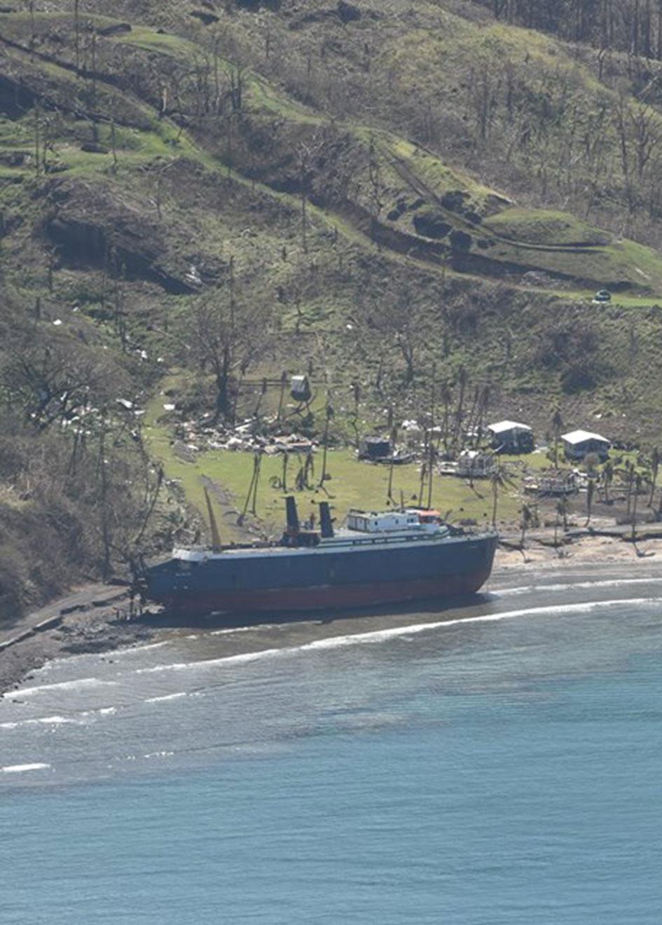 Ship on the beach in Fiji
