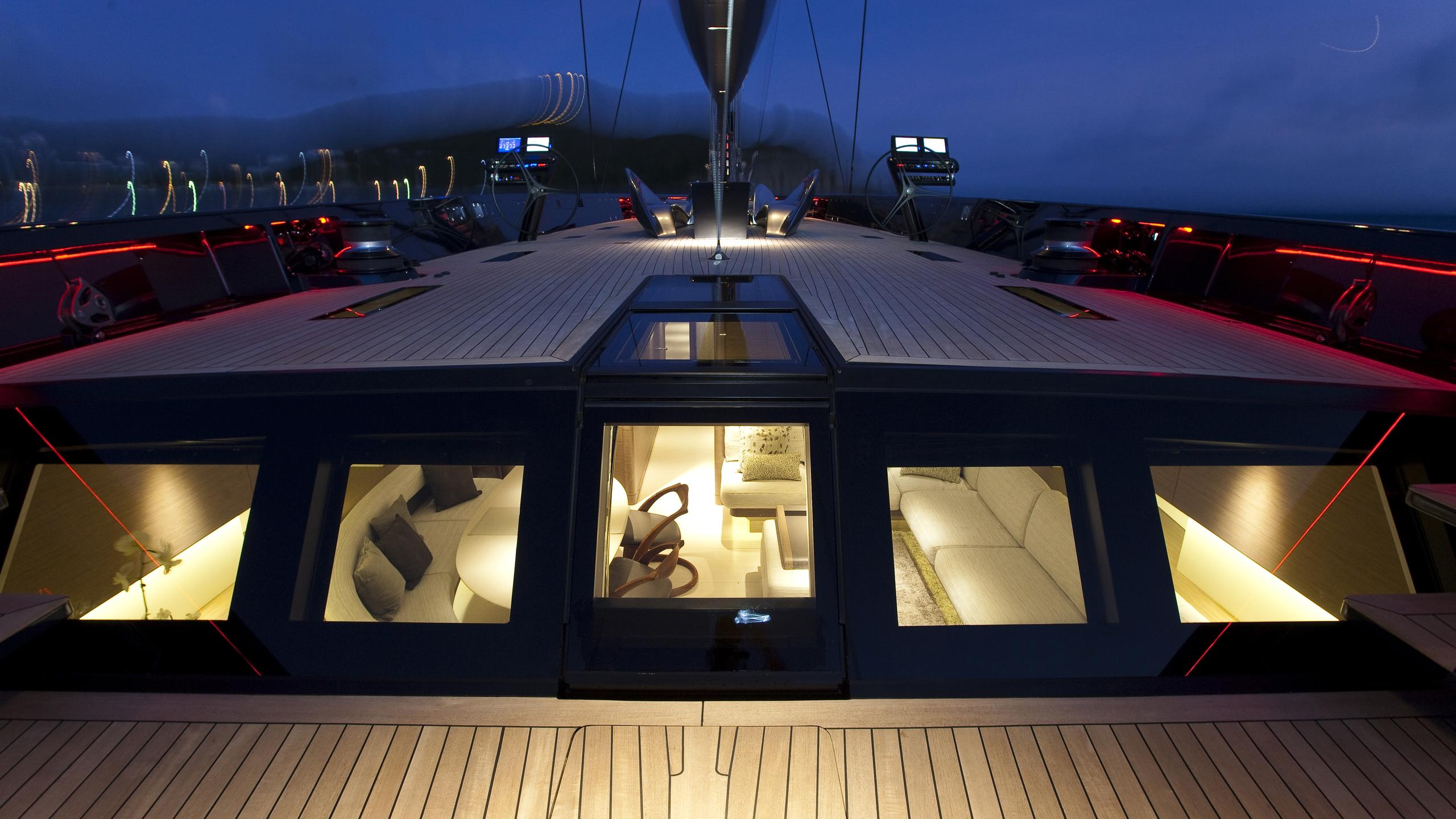 black sails angels share dream sailing yacht wally 40m 2009 aft deck by night