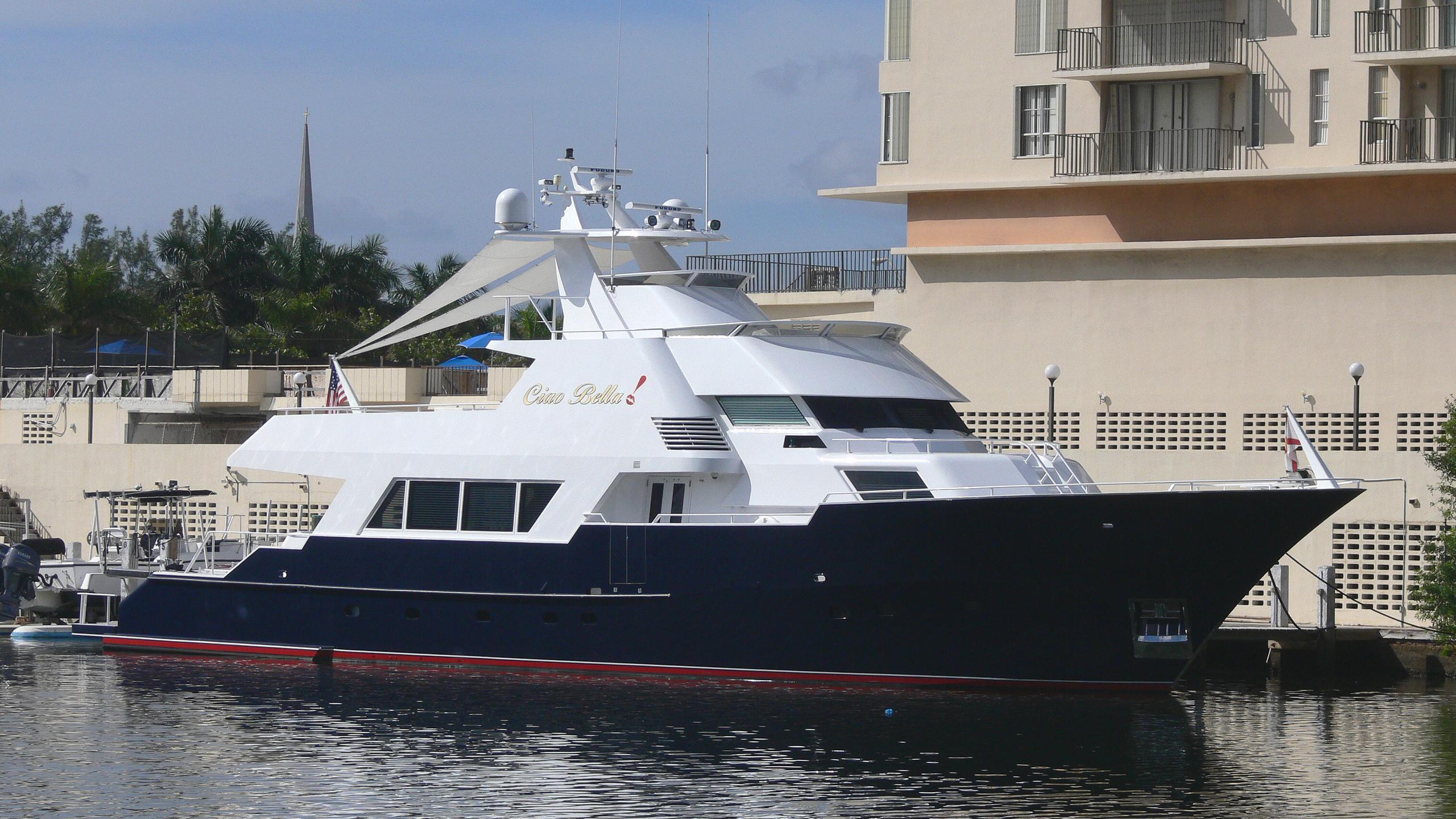 rogue pirate radio ciao bella motoryacht poole 32m 1983 half profile
