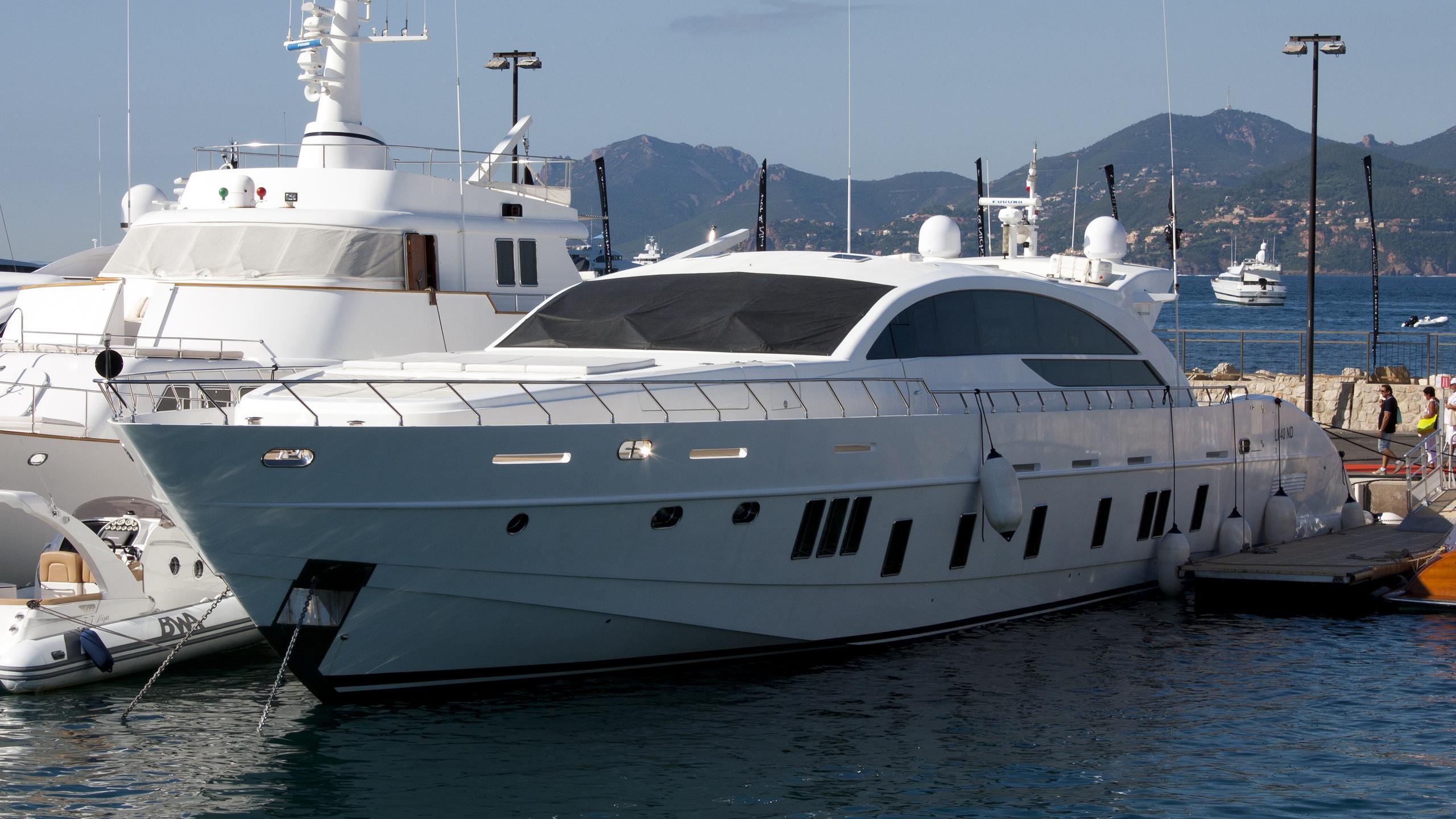blue jay lake daimon motoryacht tecnomar 36m 2009 half profile before refit