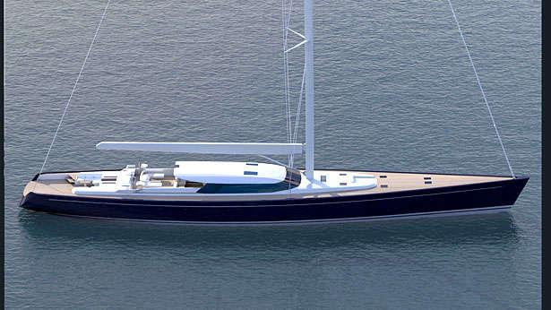 sailing yacht blue papillon aerial view