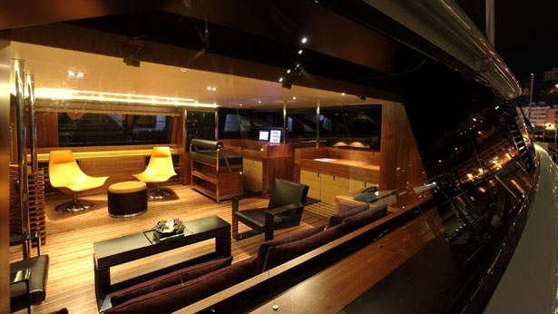 Sailing Yacht State of Grace's main saloon as seen from outside