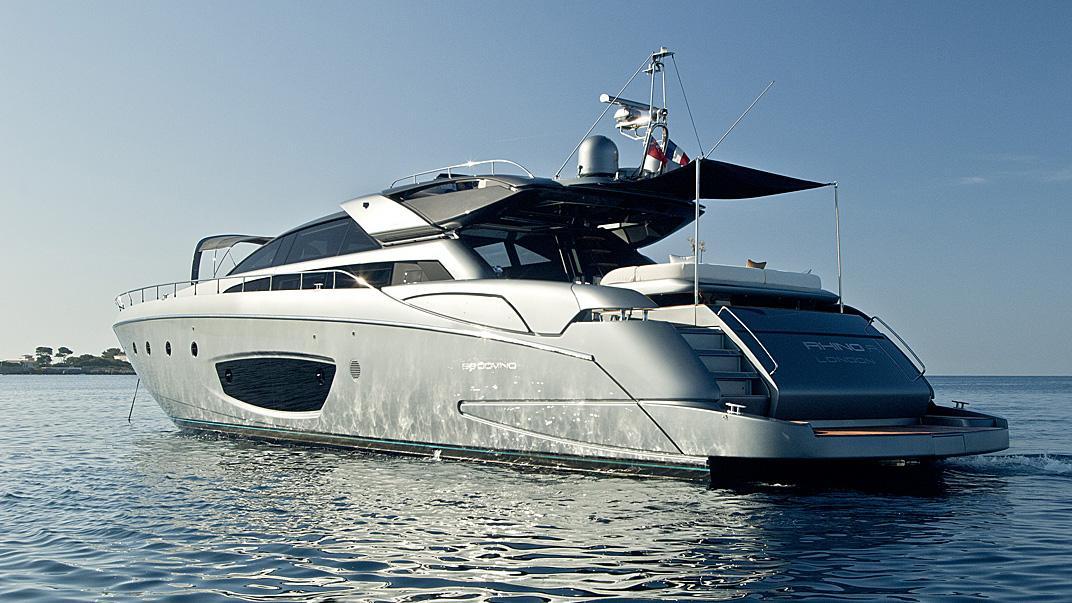 Riva built Rhino, yacht for charter stern