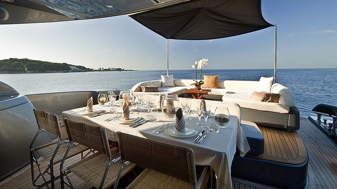 Rhino, yacht for charter: aft dining