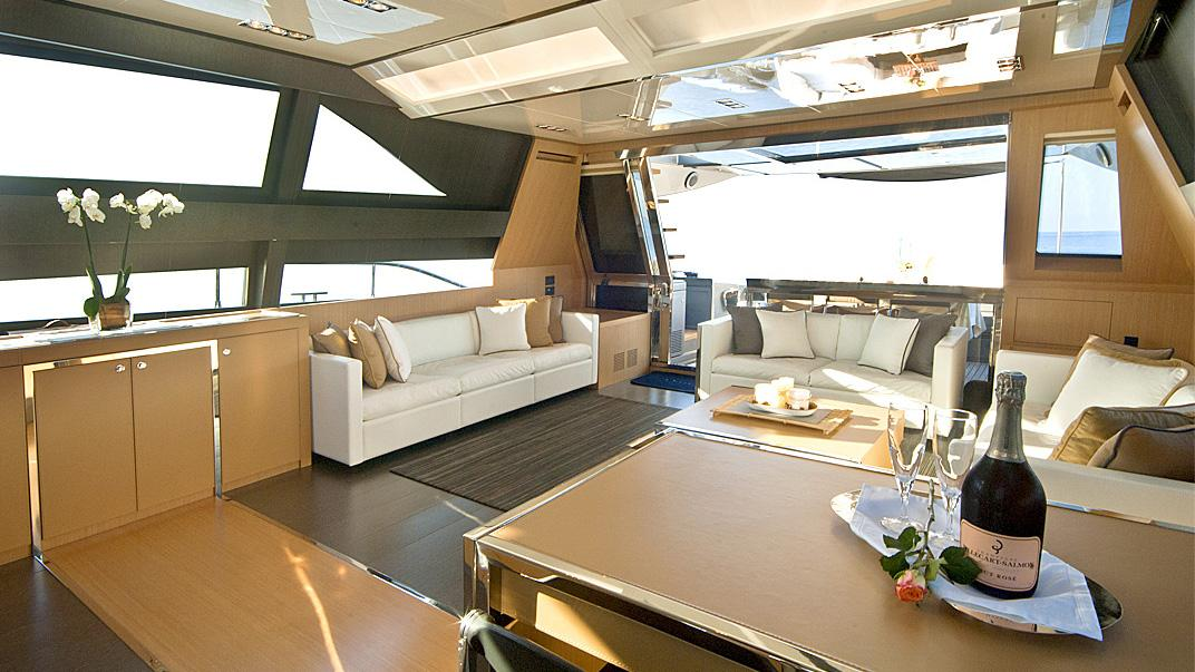 Rhino, yacht for charter: saloon-aft deck