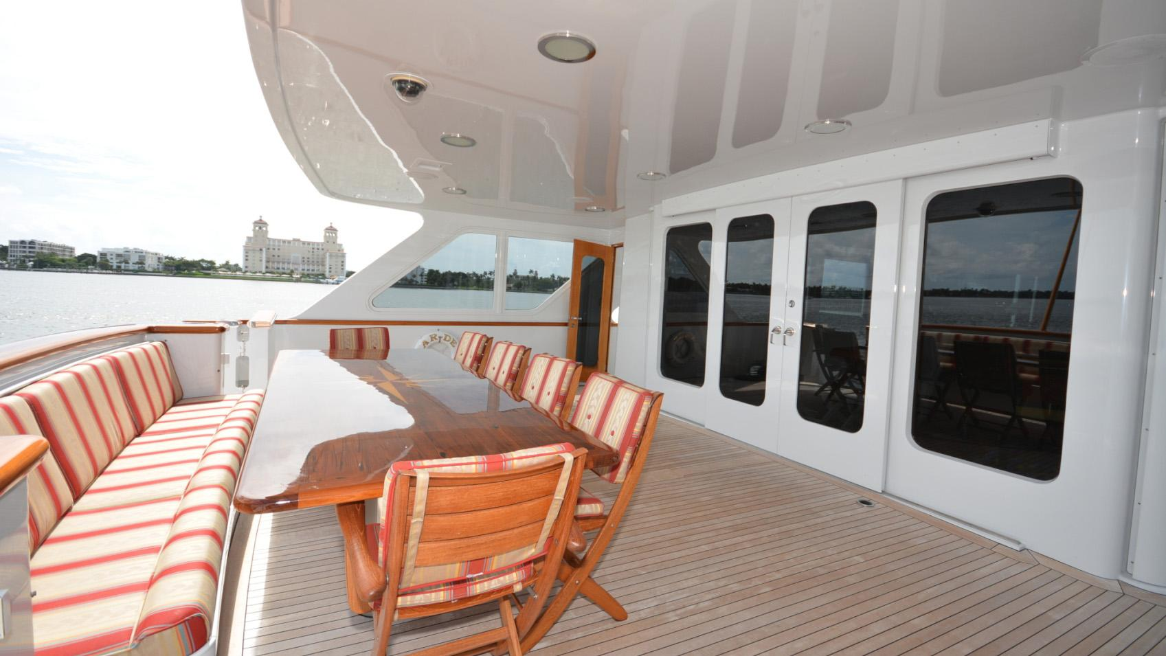 Ar De motor yacht for sale aft deck dining