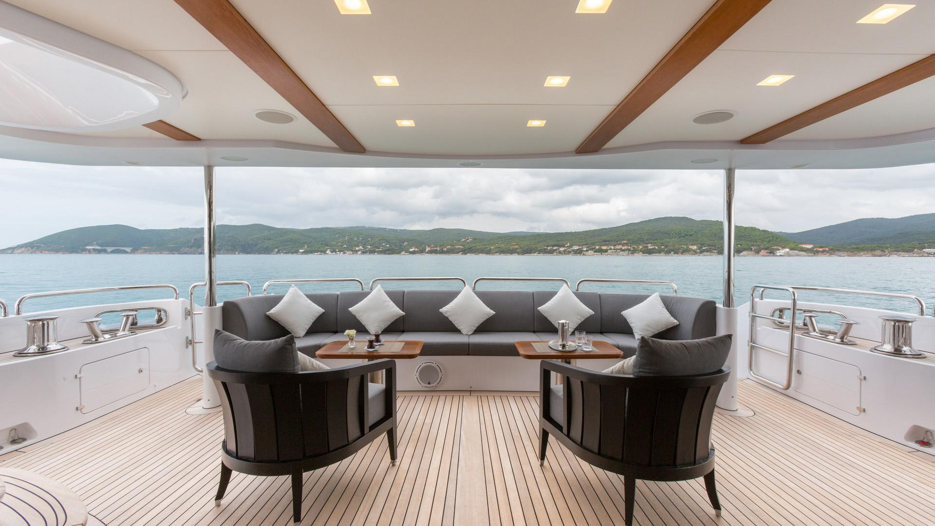 Edesia superyacht for sale aft deck dining