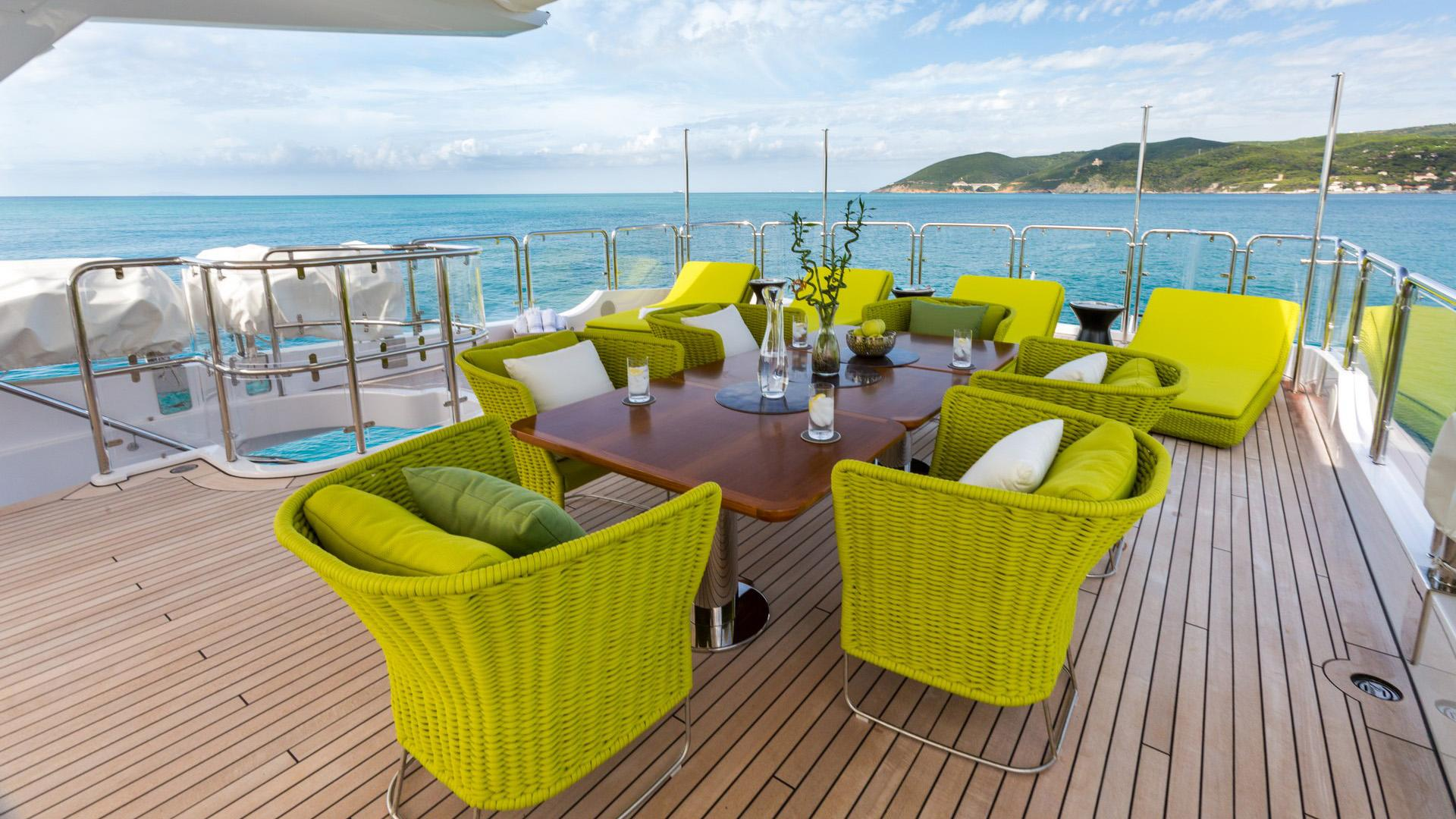 Edesia superyacht for sale fly deck seating