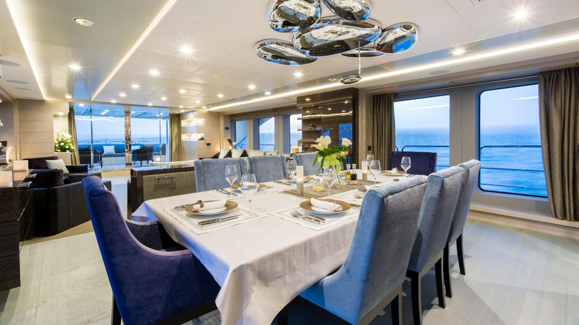 Edesia superyacht for sale formal dining