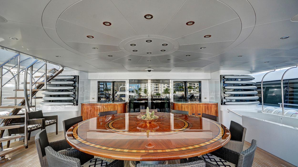 soverign motor yacht for sale deck dining