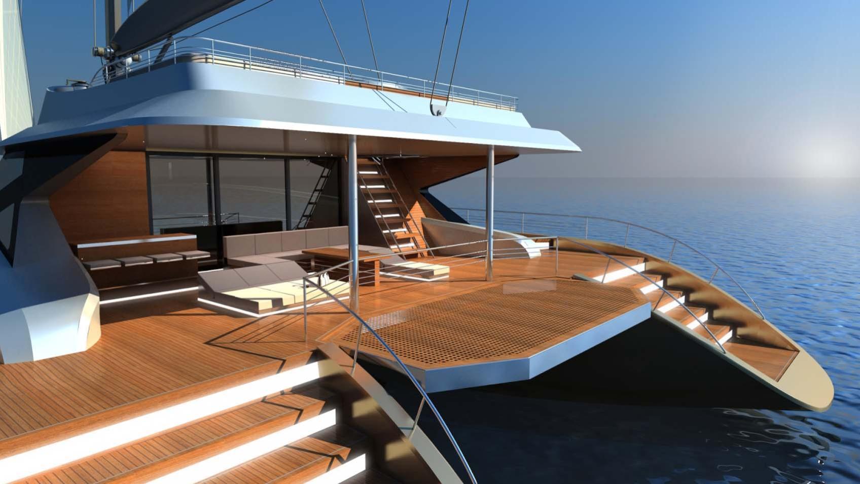 blue coast 88 cataraman yacht transom