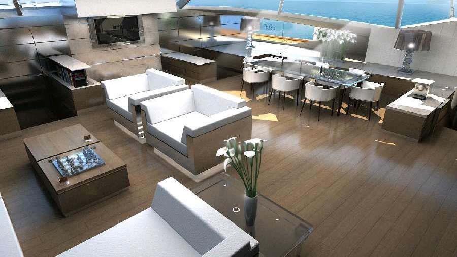 blue coast 88 cataraman yacht saloon