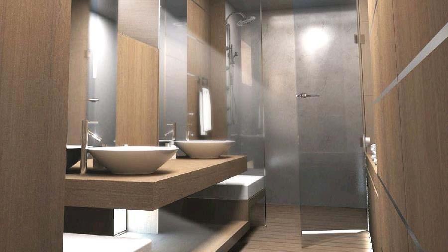 blue coast 88 cataraman yacht bathroom