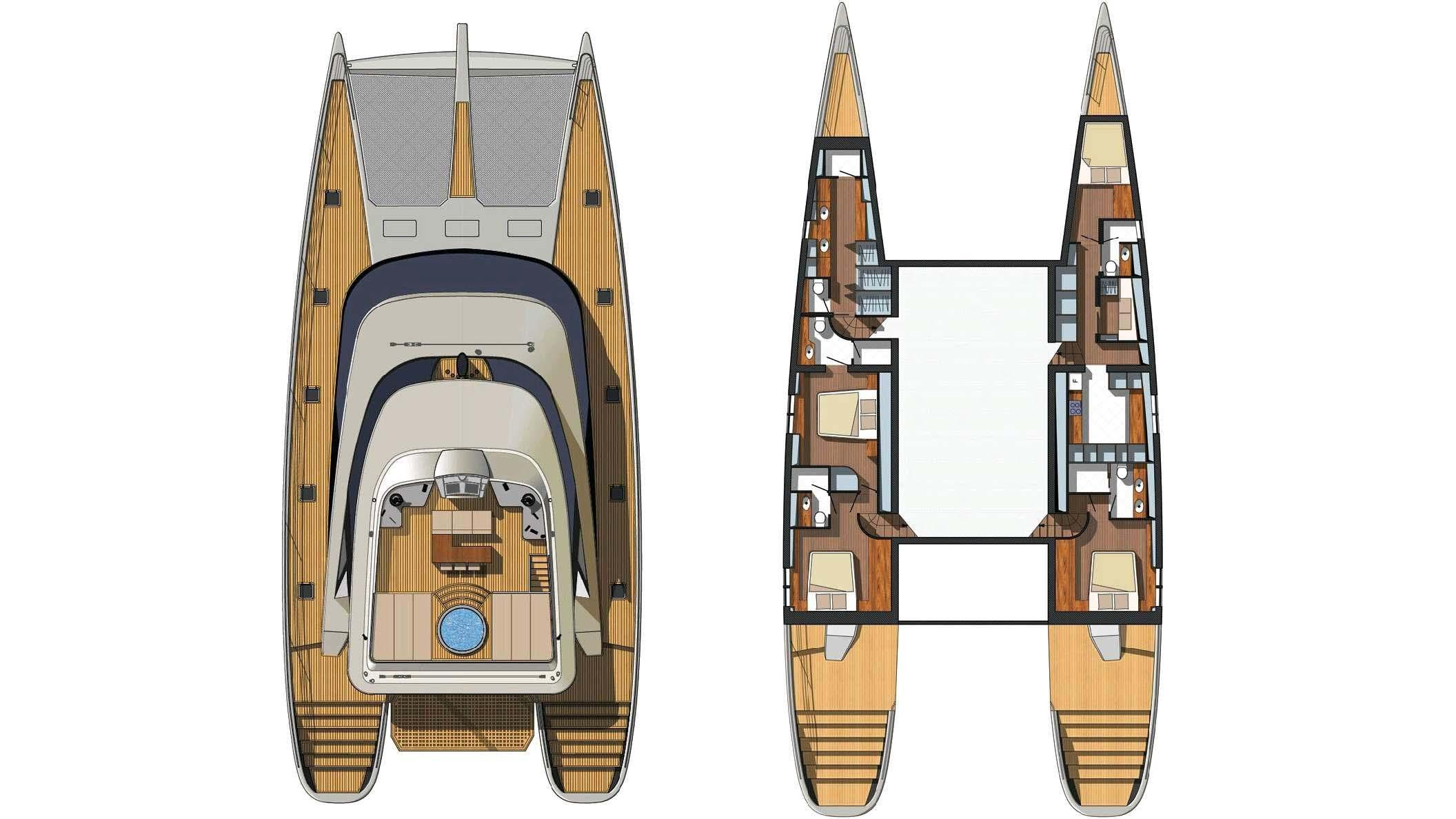 blue coast 88 cataraman yacht deckplan