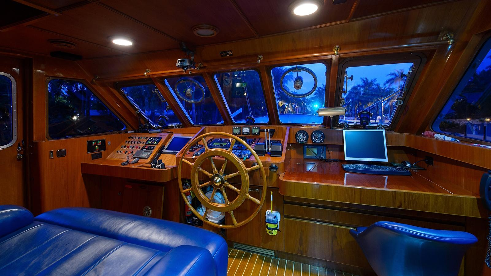 Halcyon Days motor yacht for sale helm