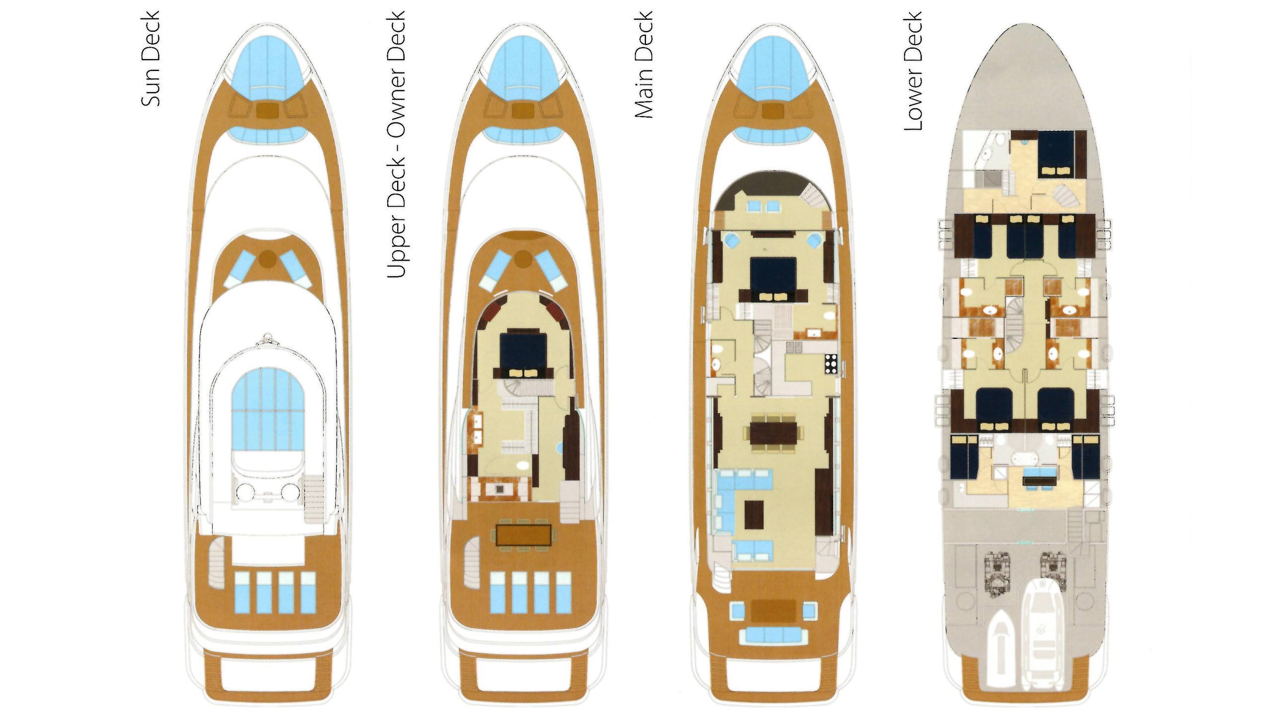 Gatsby motor yacht for charter deckplan
