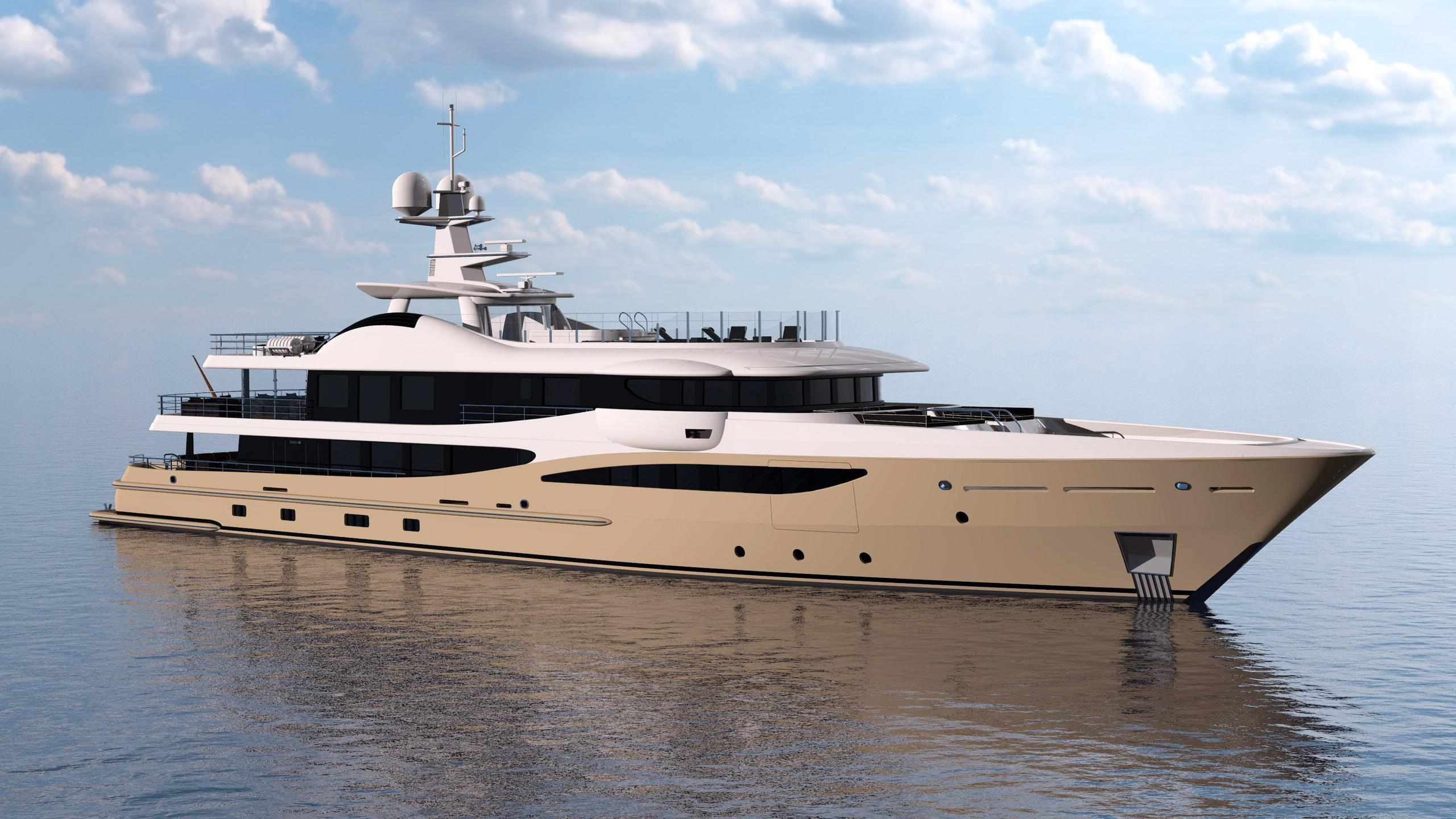 lili motoryacht amels le180 55m 2017 half profile rendering