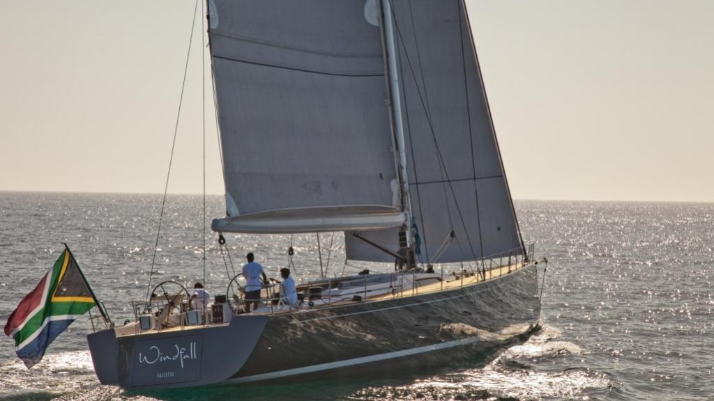Windfall sailing yacht running aft