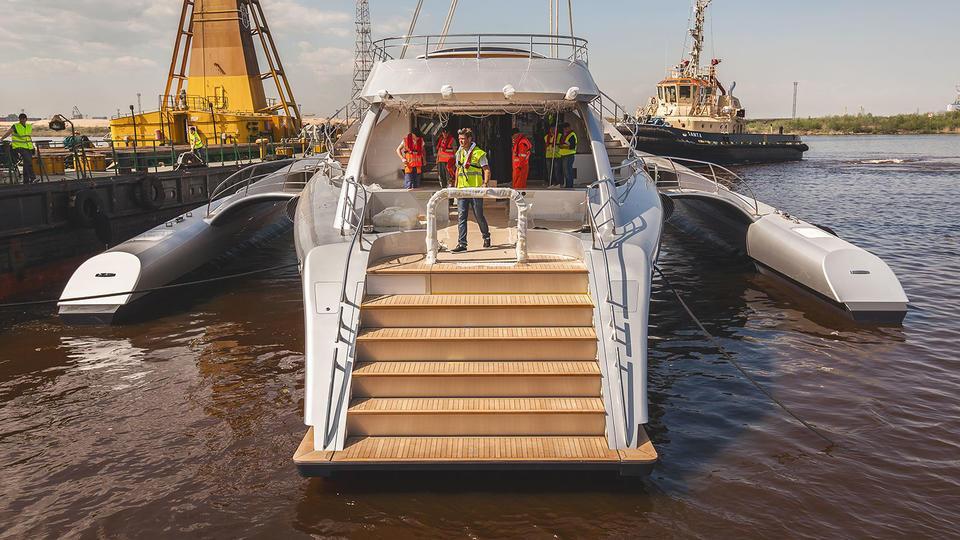 galaxy of happiness trimaran yacht latitude 2016 53m launch stern
