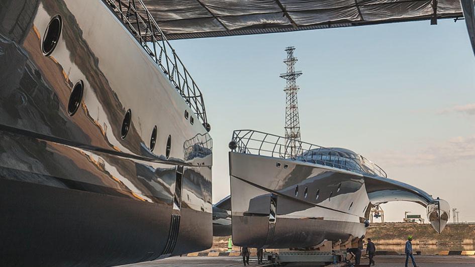 galaxy of happiness trimaran yacht latitude 2016 53m shipyard shed