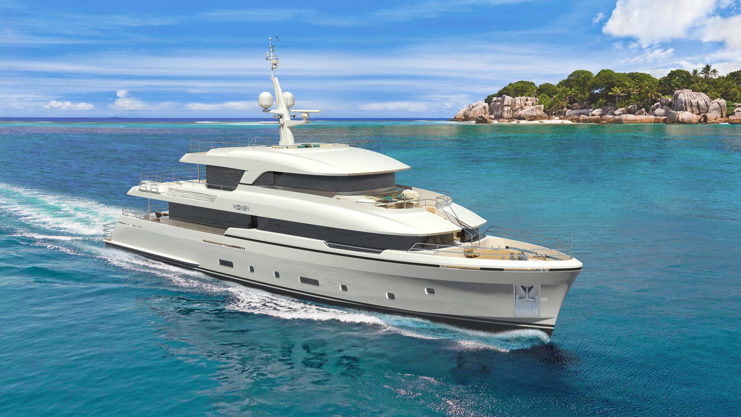 martinique motoryacht moonen 2018 36m rendering front profile cruising