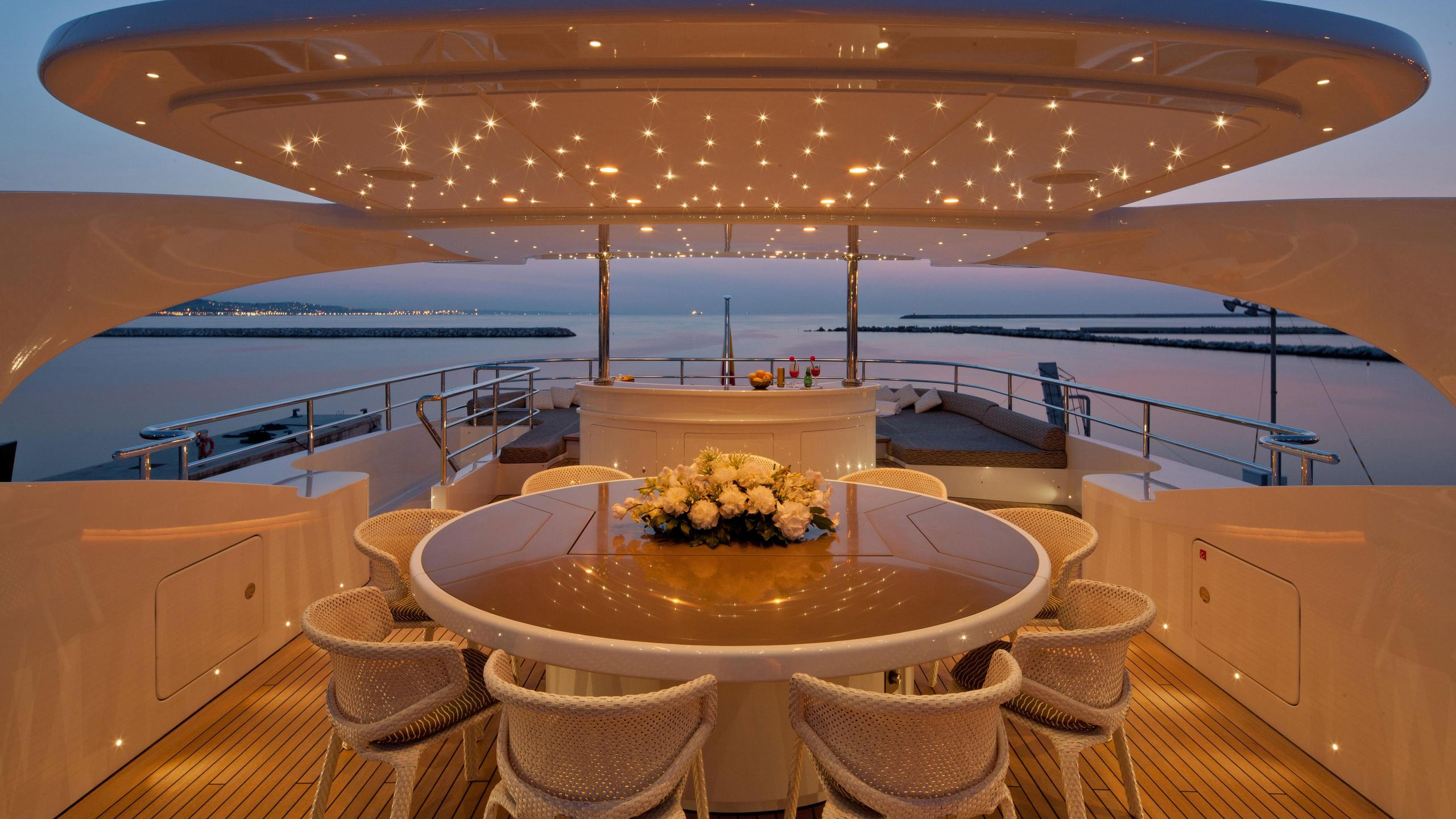 Aziza yacht upper deck dining