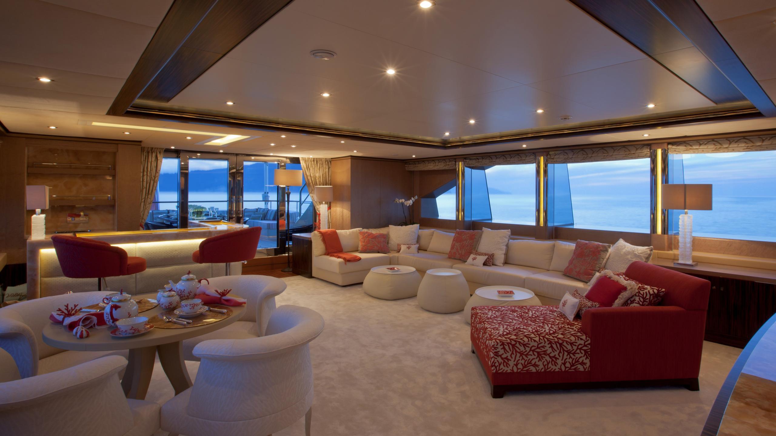 Belle Anna yacht upper deck saloon