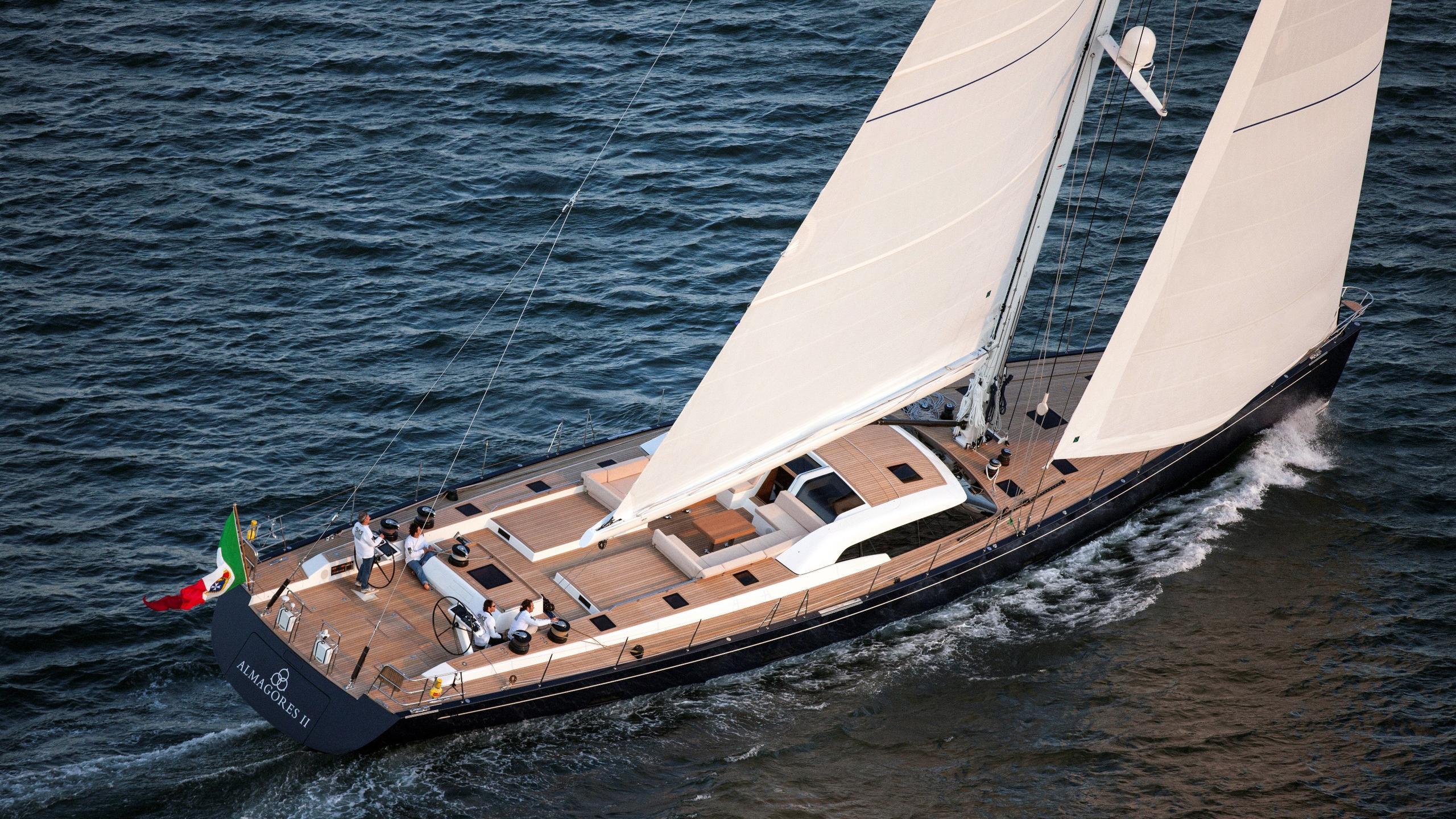 Almagores II sailing yacht running aft