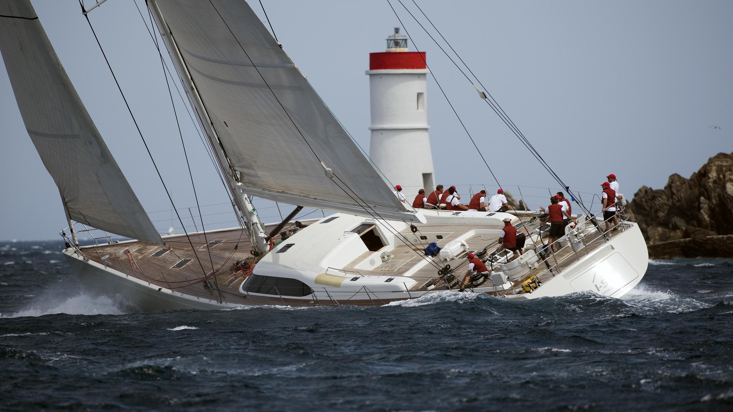 I Sea sailing yacht running aft