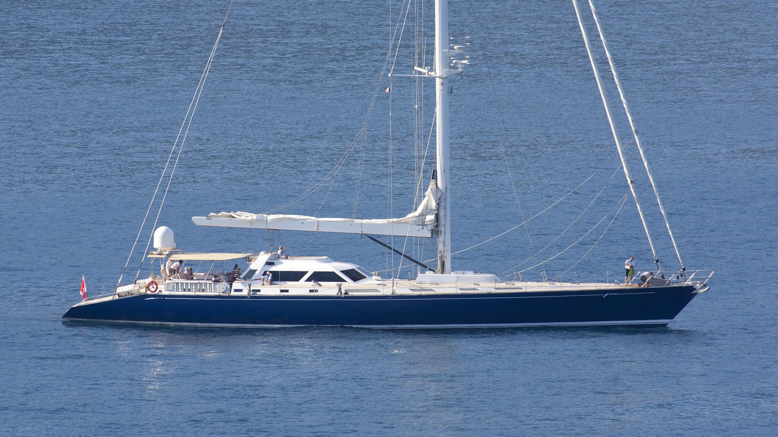 mirabella latitude sailing yacht concorde 40m 1992 profile with hull wrapped