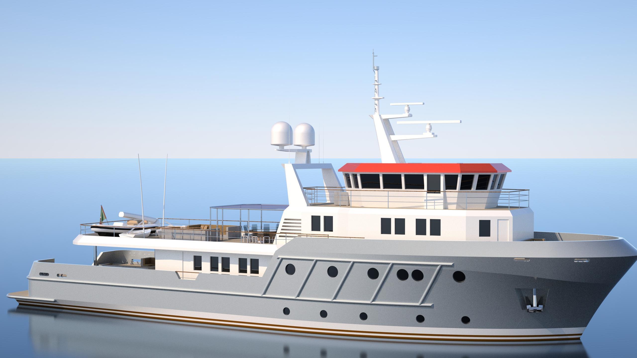 genesia motoryacht chioggia ocean king 130 yacht exterior rendering half profile