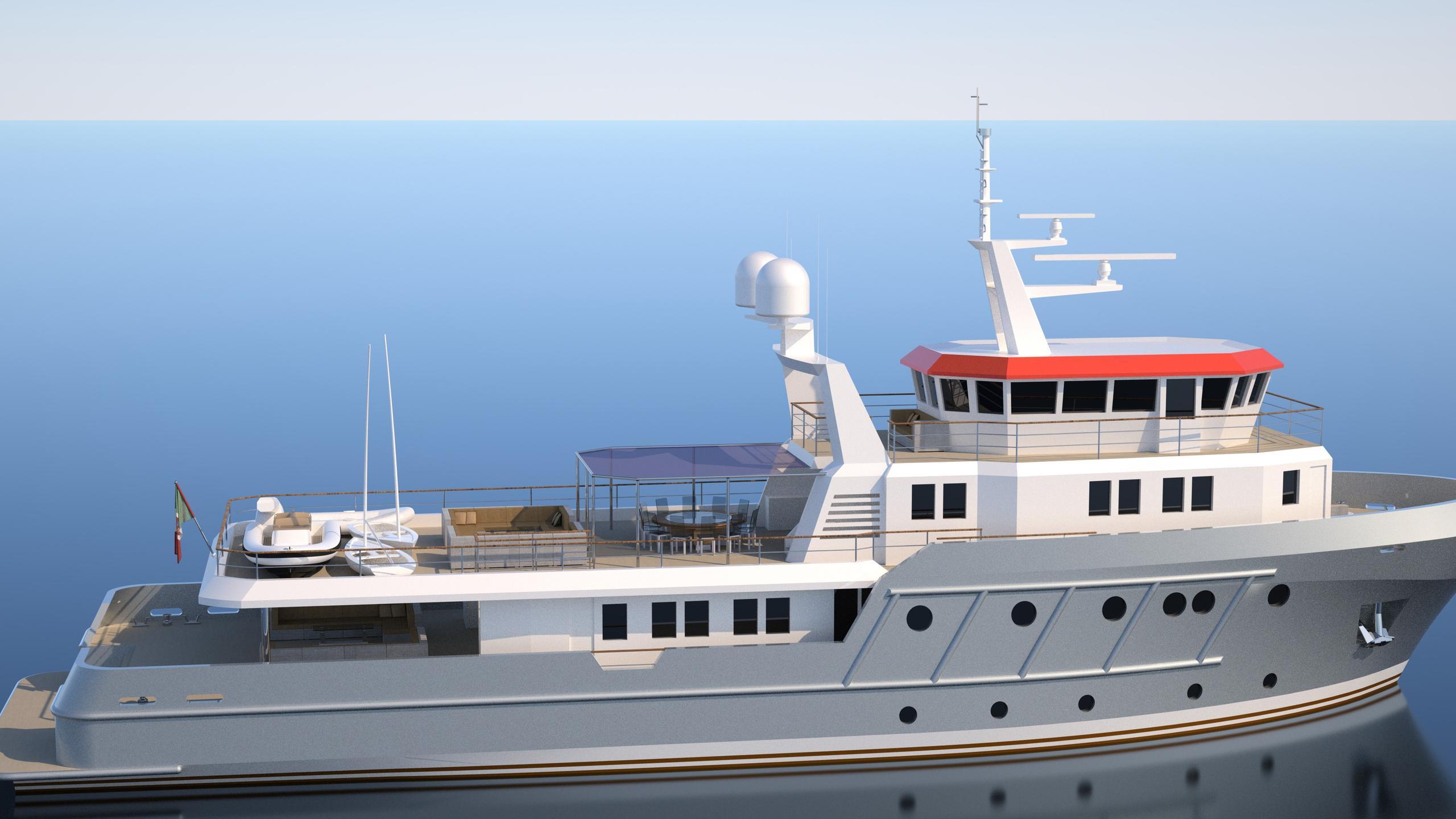 genesia motoryacht chioggia ocean king 130 yacht exterior rendering profile