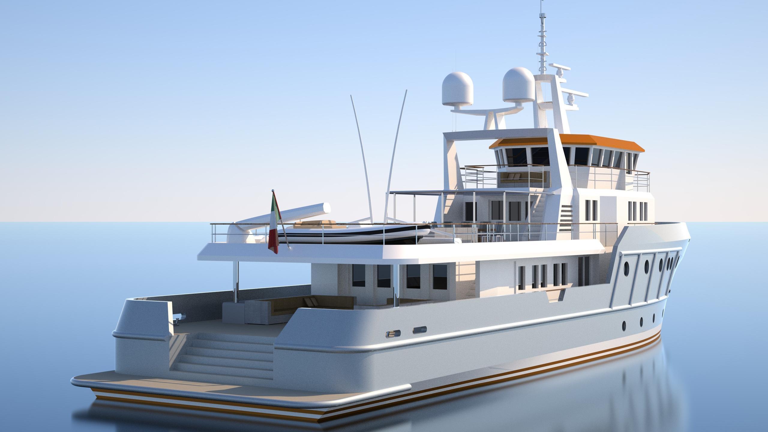 genesia motoryacht chioggia ocean king 130 yacht exterior rendering half stern