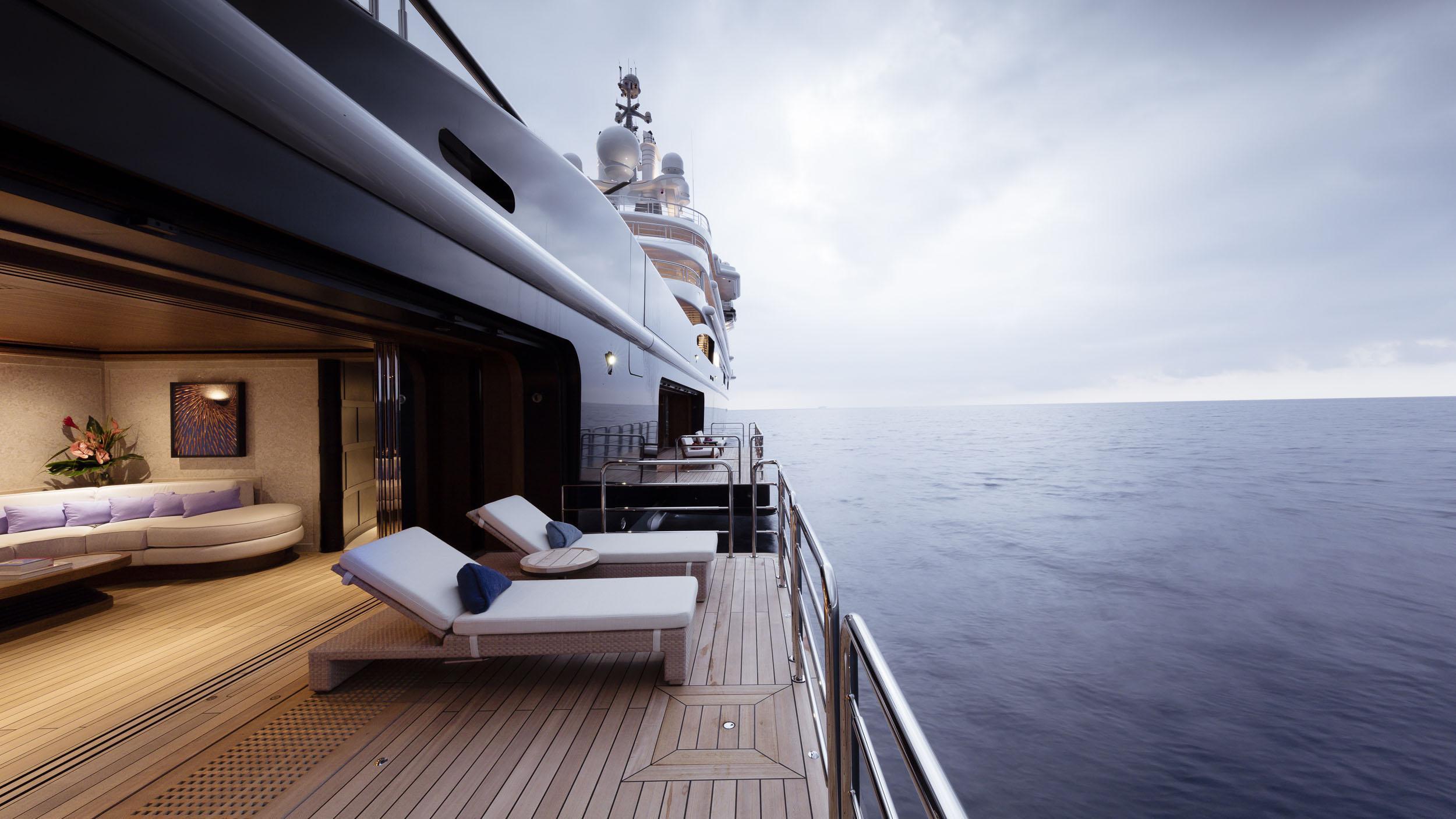 luna superyacht lloyd werft 2010 115m side balconies