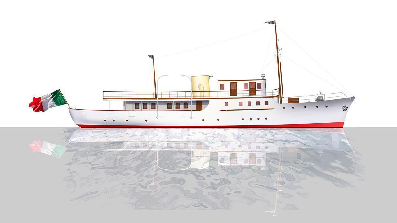 cacouna motoryacht camper nicholsons 36m 1932 rendering refit dunya